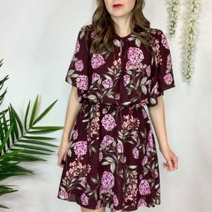 ADELYN RAE floral dress tie front elastic waist